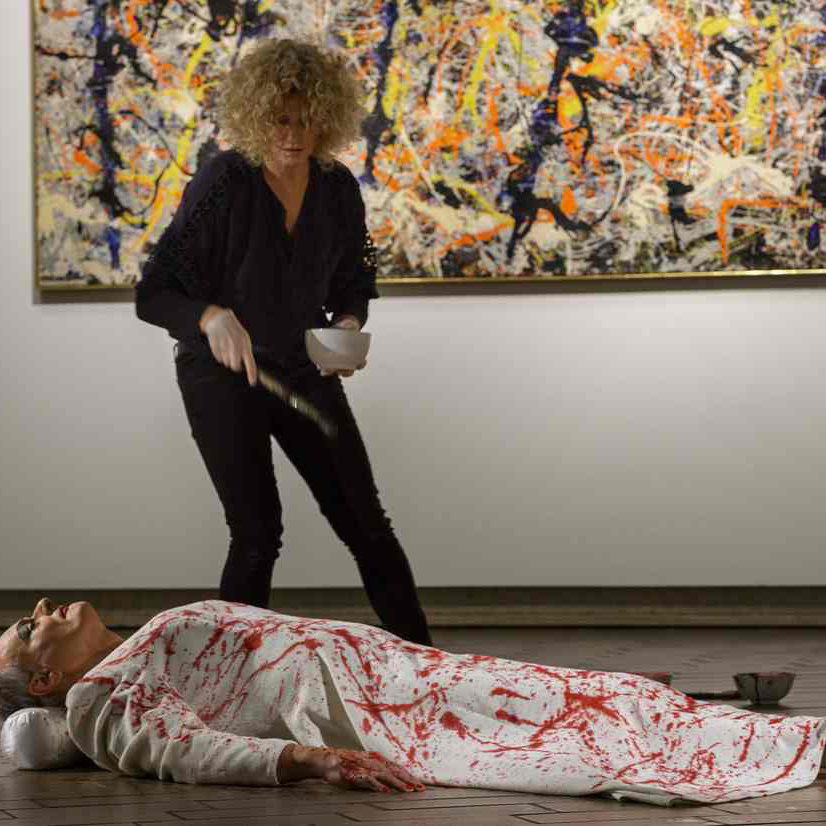 Linda performs at the NGA in front of Jackson Pollock's Blue Poles with Mike Parr - arguably Australia's most lauded and internationally-recognised performance artist