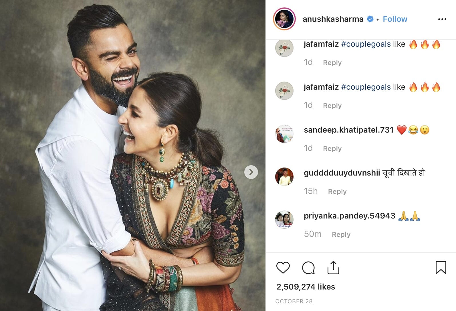 Anushka Sharma with husband Virat Kohli
